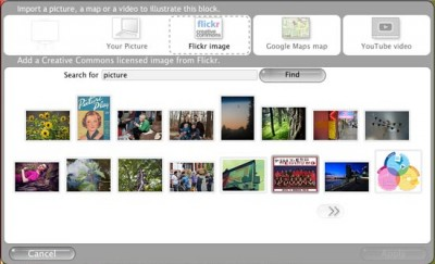 Use an image from the Flickr pool of Creative Commons photos